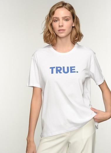 NGSTYLE Kadın Baskılı  Tişört NGKSS21TS0020 Beyaz